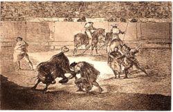 Pepe-Hillo haciendo un recorte al toro. Grabado de Francisco de Goya perteneciente a la serie La tauromaquia.
