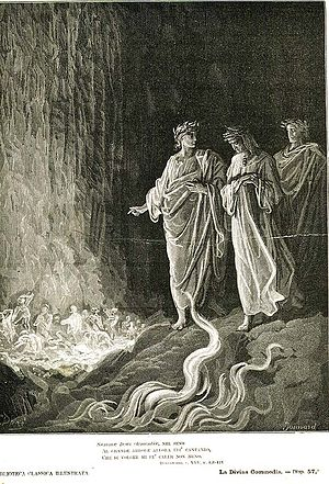 Virgil, Dante, and Statius beside the flames o...