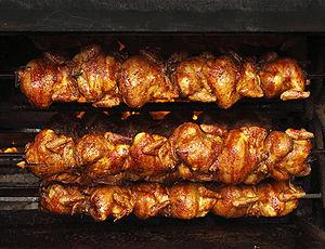 English: Roasted chickens in Guanajuato, Mexico