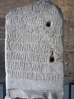 Inscription for 5th century Roman Consul Deciu...