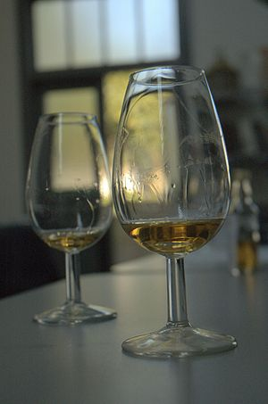English: Photograph showing two scotch whisky ...