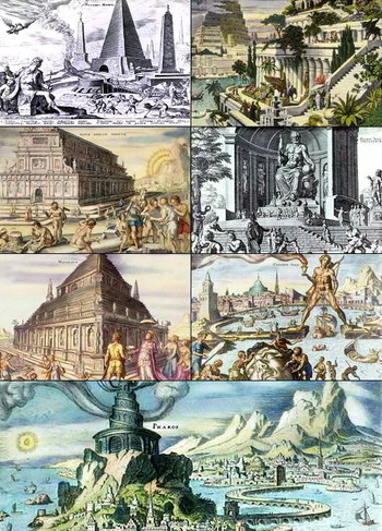English: A collage of The Seven Wonders of the...