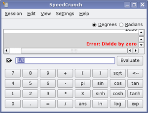 English: SpeedCrunch showing a divide by zero ...