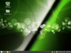Screenshot of the default desktop of Linux Min...