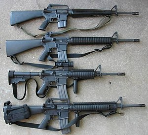 M16A1, M16A2, M4, M16A4, from top to bottom