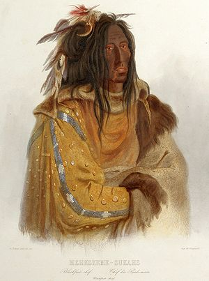 English: The Blackfoot chief Mehkskeme-Sukahs