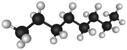 辛烷,石油中含有碳氫化合物,以單鍵鍵結存在,其中黑色球體是碳,白色球體是氫