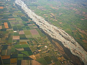 English: Aerial view of the Rakaia River, a br...