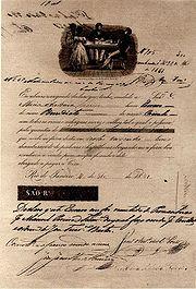 Recibo de compra e venda de escravos. Rio de Janeiro, 1851.