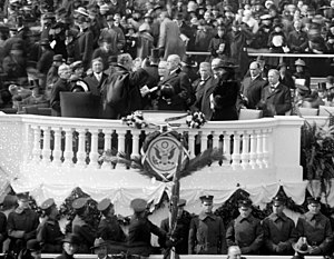 English: Woodrow Wilson is sworn in to his sec...