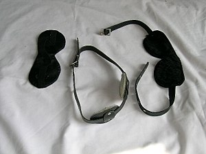 A collection of BDSM blindfolds.