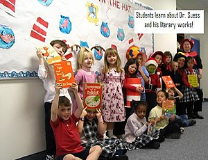 English: Students learn about Dr. Seuss and hi...