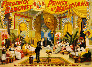 Poster shows American magician Frederick Bancr...