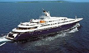 Luxury yacht O'Mega underway. Note the correct...
