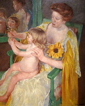 English: Mother and Child (1905, Mary Cassatt)...