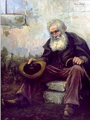 English: Old Beggar, 1916, by Louis Dewis, pai...