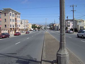 Looking east down Geary Boulevard from 36th Av...
