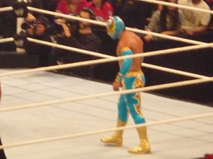 Sin Cara in the ring at the WWE Raw tapings on...