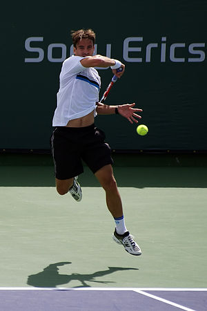 Tommy Robredo hits a forehand at the Pacific L...