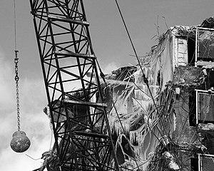 English: Wrecking ball in use during demolitio...