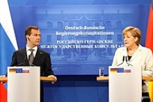 Medvedev with Chancellor of Germany Angela Merkel in Germany in July 2011