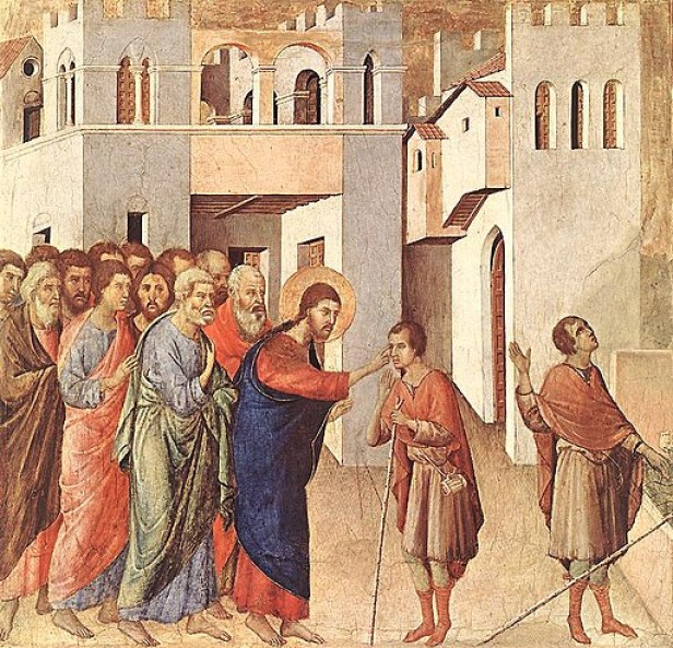 """""""The Healing of the Man born Blind"""" byDuccio"""