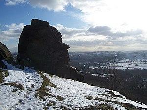 English: Head shaped rock on Froggatt Edge A r...