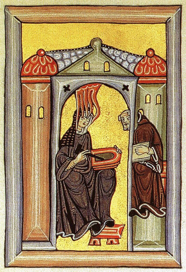 Hildegard of Bingen receiving a divine inspiration and gives it to her Schreiber. (Image from Wikipedia)