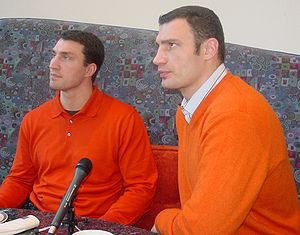 Wladimir (left) and Vitali Klitschko (right), ...