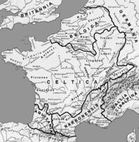 Mapa de Galia alrededor del año 58 adC.