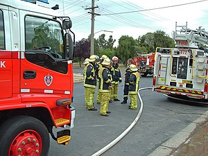 English: New South Wales Fire fighters group u...