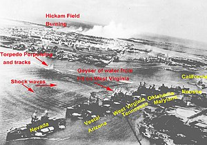 Captured Japanese photograph taken during the December 7, 1941, attack on Pearl Harbor. In the distance, the smoke rises from Hickam Field.