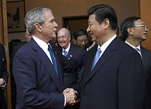Xi Jinping greeting U.S. President George W. Bush in August 2008.
