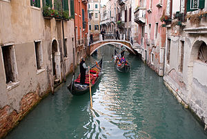 Gondolas in a canal in Venice, Italy