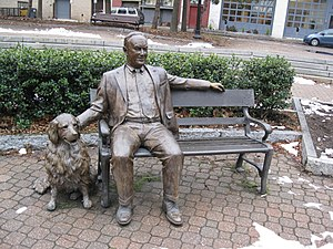 Statue of former-Mayor Thomas Whalen III and h...