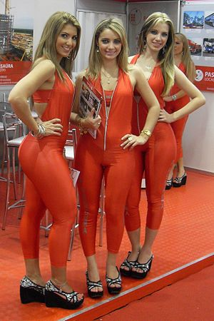 promotional models on the Fenasucro fair in Br...