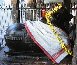 Photograph of an idol of Nandi at the Kapalees...