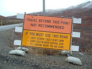 Road sign, 2 miles north of Nome, Alaska