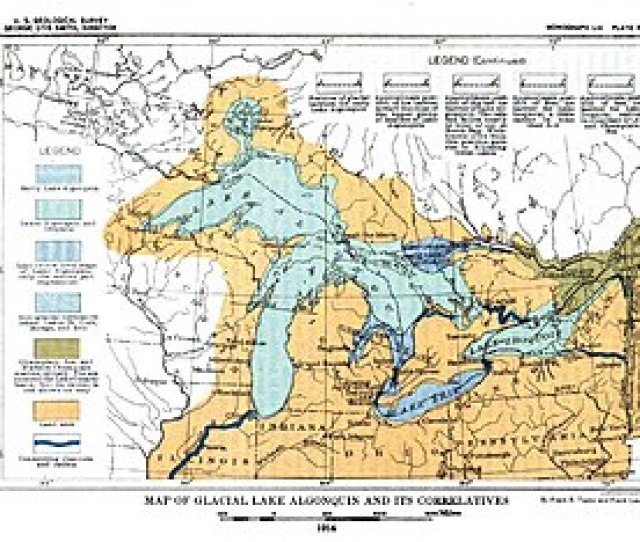 Map Of Glacial Lake Algonquin And Its Correlatives Usgs