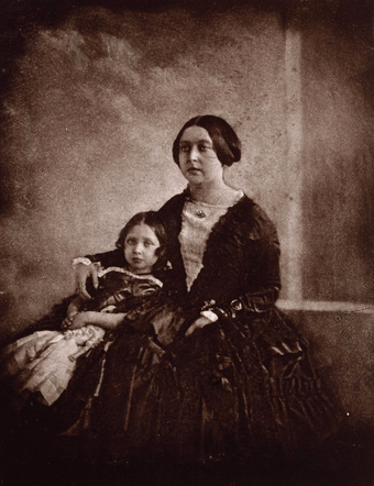 Earliest known photograph of Victoria, here with her eldest daughter, c. 1845[76]
