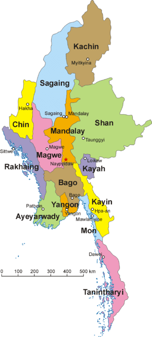 The 14 states and regions of Burma