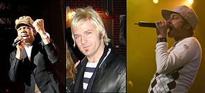 English: The members of dc Talk: Michael Tait,...
