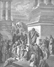 Jonah preaching to the Ninevites, by Gustave Dore (d. 1883).