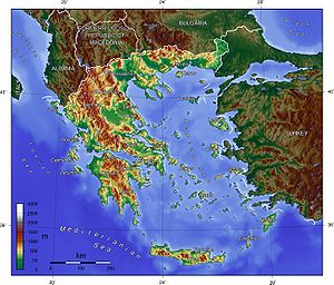 An enlargeable topographic map of Greece