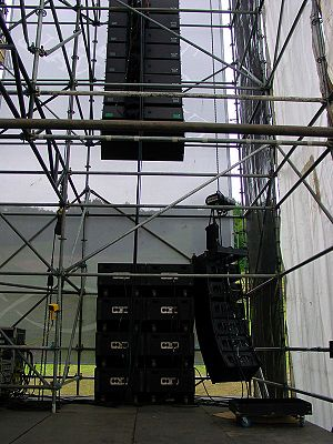 English: Meyer Milo line array with EAW subs a...