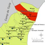 Localización del Puig respecto a la comarca de la Huerta Norte