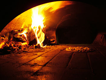 A wood-burning pizza oven baking a pizza. Ital...