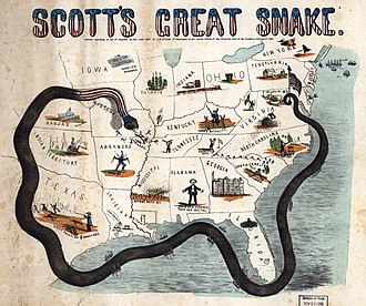 A cartoon map of the South surrounded by a snake.