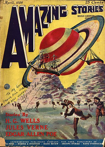 First issue of Amazing Stories, art by Frank R...