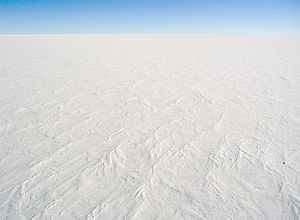 A photograph of the snow surface at Dome C Sta...
